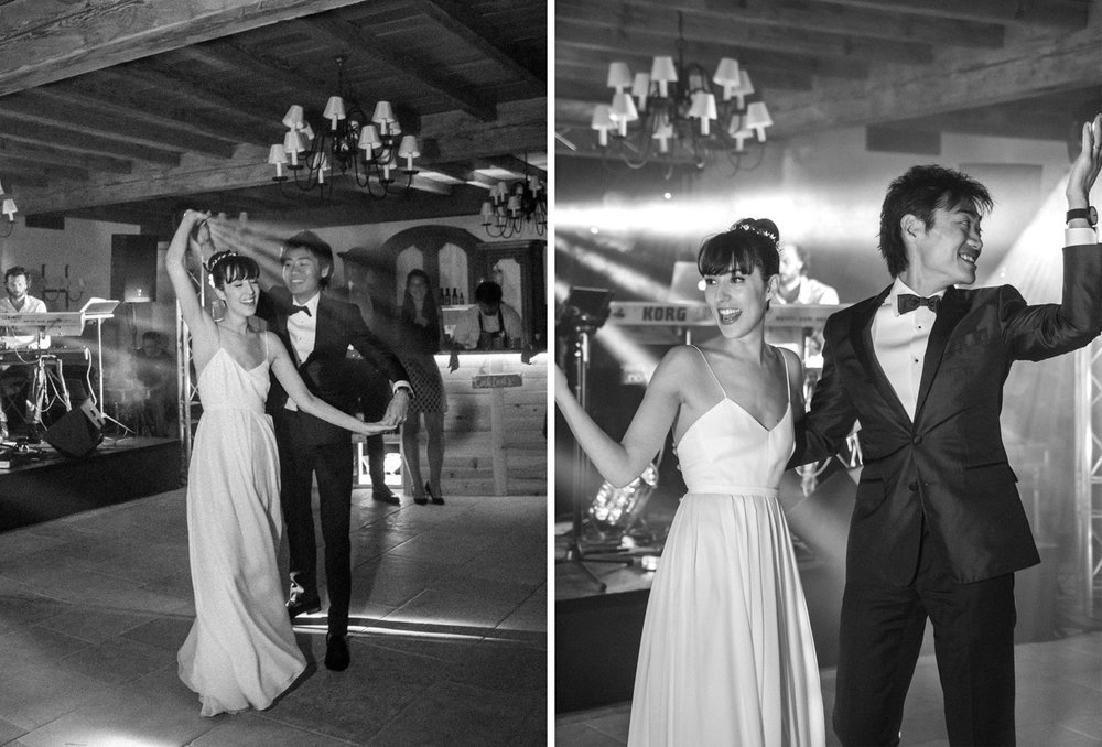 Bride and groom's first dance at a chateau in Gordes, France; Sylvie Gil Photography