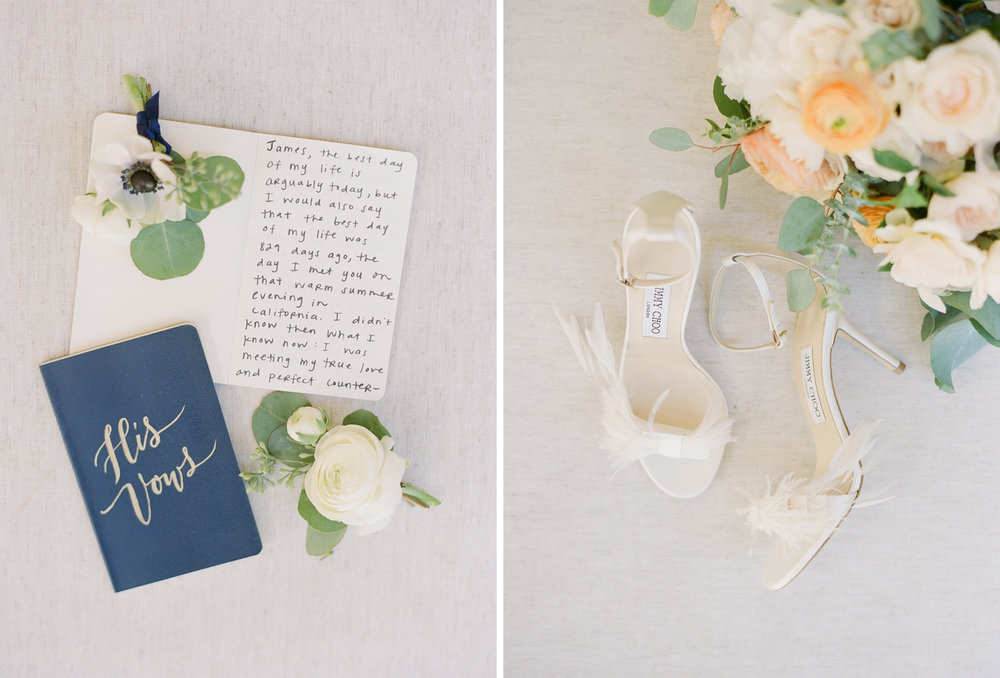 Layflats of the bride and groom's vows and the bride's Jimmy Choos; Sylvie Gil Photography
