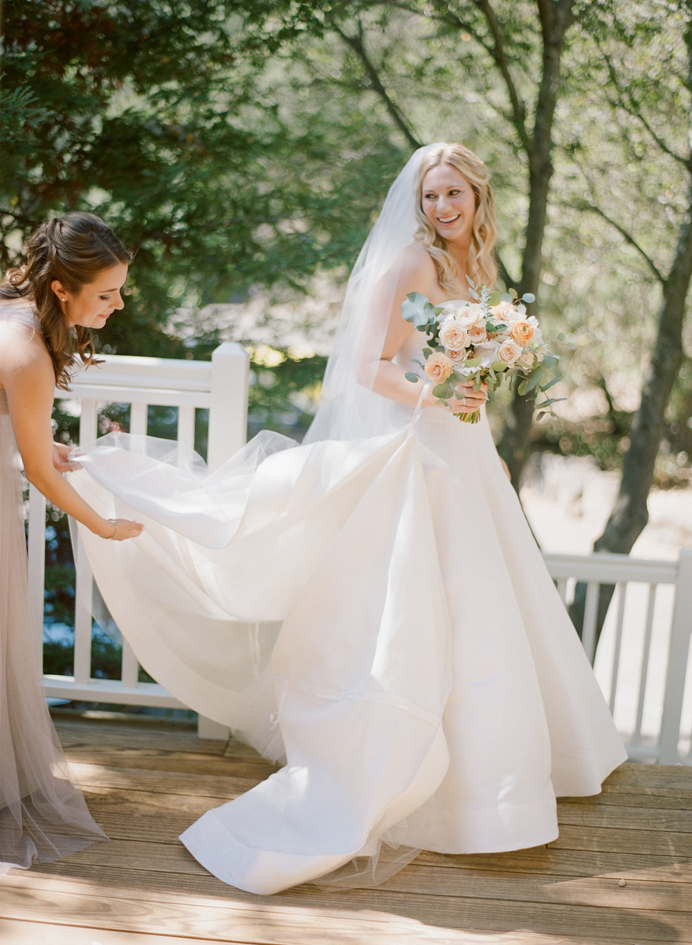 The bride gets ready before the ceremony at Beaulieu Gardens in St. Helena; Sylvie Gil Photography
