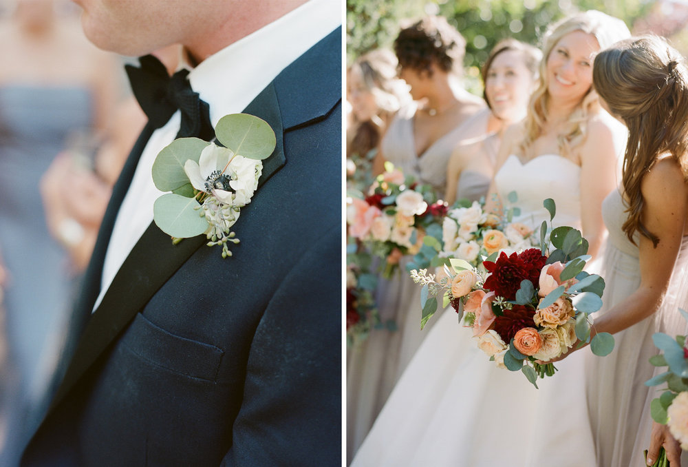 The groom's dogwood and eucalyptus boutonniere, bridesmaids bouquets with deep red dahlias; Sylvie Gil Photography