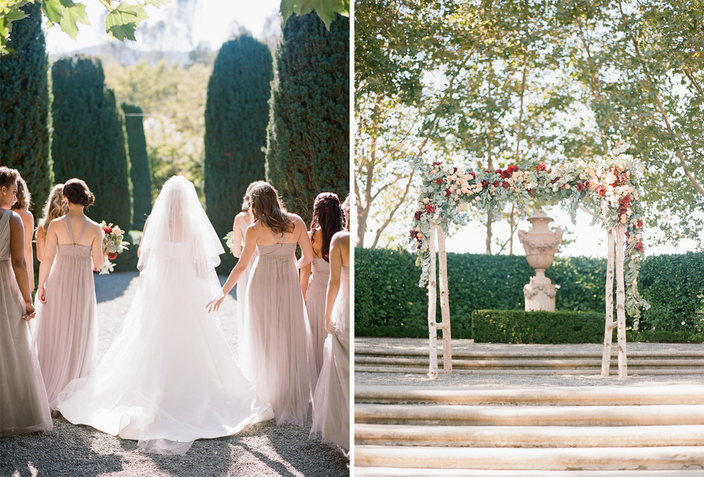 Bridesmaids walk with the bride toward the ceremony space at Beaulieu Gardens in St. Helena; Sylvie Gil Photography