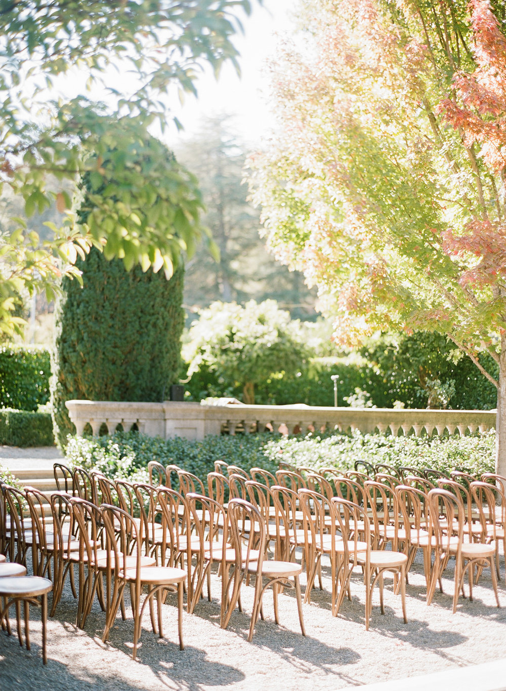 Ceremony seating at Beaulieu Gardens in St. Helena, wine country; Sylvie Gil Photography