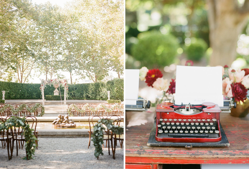 Typewriters set up for guests to write notes to the bride and groom; Sylvie Gil Photography