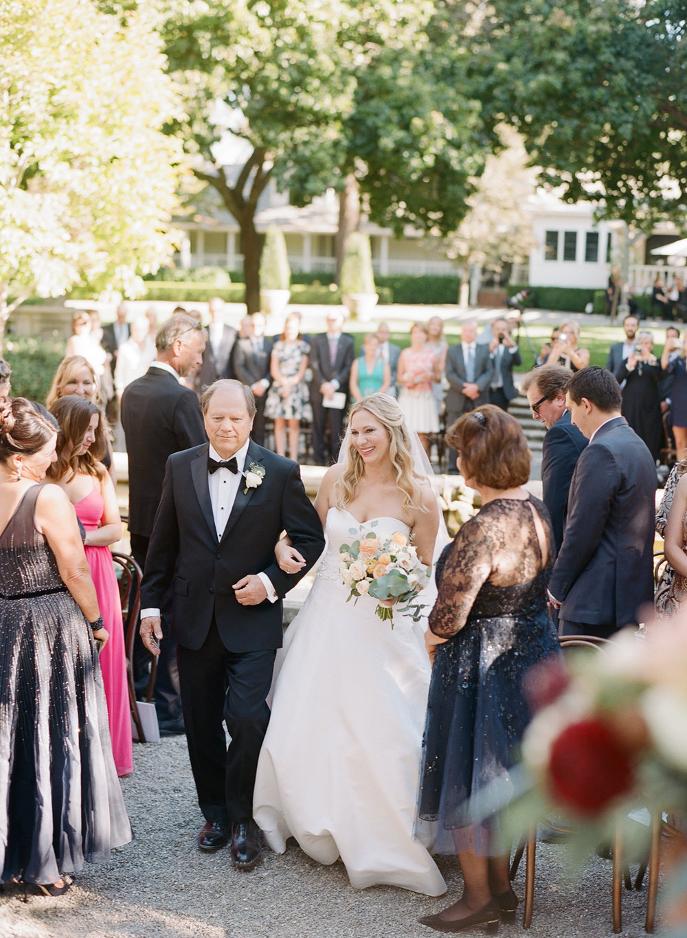 Wedding processional at Beaulieu Gardens in St. Helena; Sylvie Gil Photography