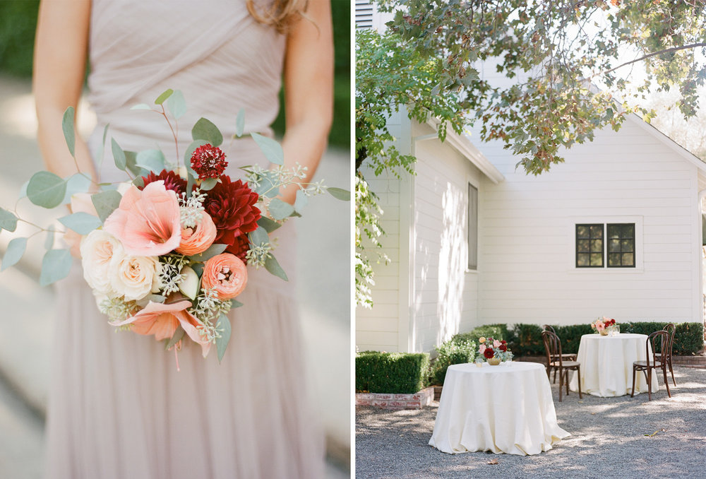 Blush and burgundy bridesmaids bouquets match cocktail table florals; Sylvie Gil Photography