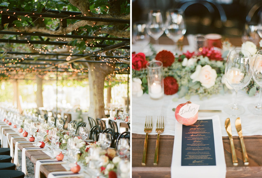 Reception tables decorated with string lights and pomegranate name cards; Sylvie Gil Photography
