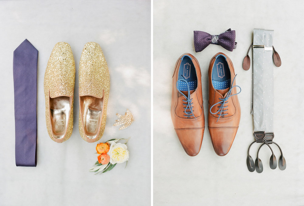 Both grooms' wedding details - shoes, ties, suspenders; Sylvie Gil Photography