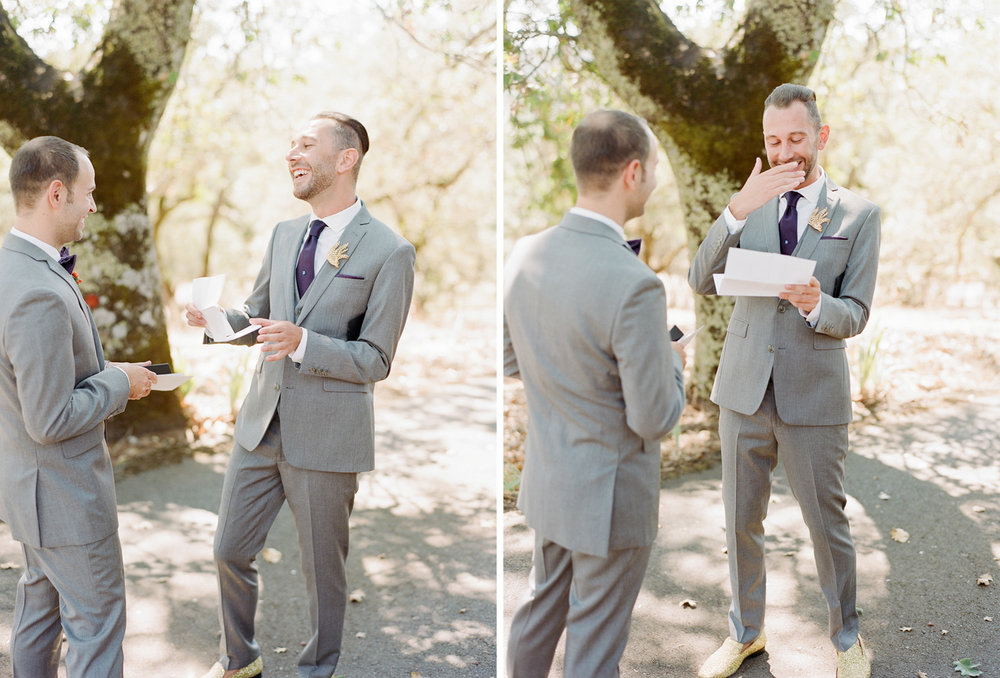 Grooms' first look reading letters from each other before the wedding ceremony at Napa's Kunde Winery; Sylvie Gil Photography