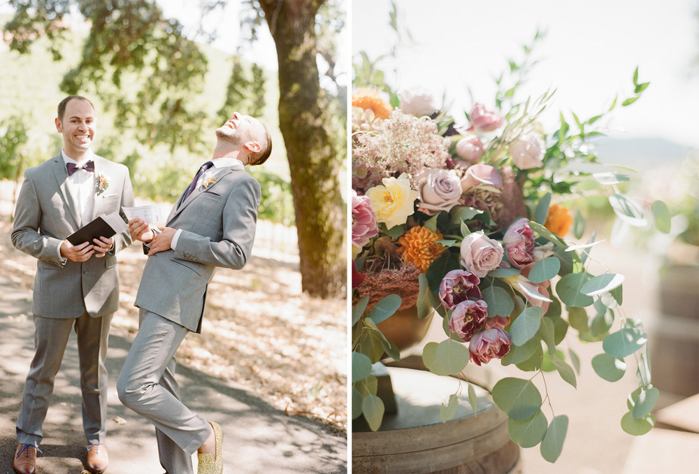 Ceremony florals - summer blooms decorated with eucalyptus leaves - at Kunde Winery; Sylvie Gil Photography