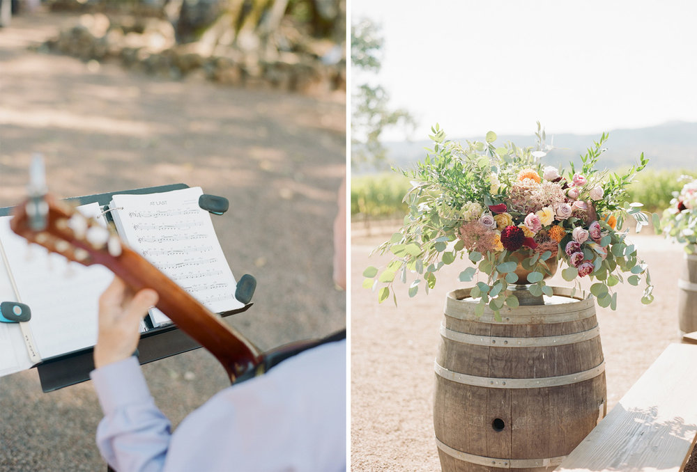 Summer ceremony blooms set on a rustic barrel at Kunde Winery in Napa Valley; Sylvie Gil Photography