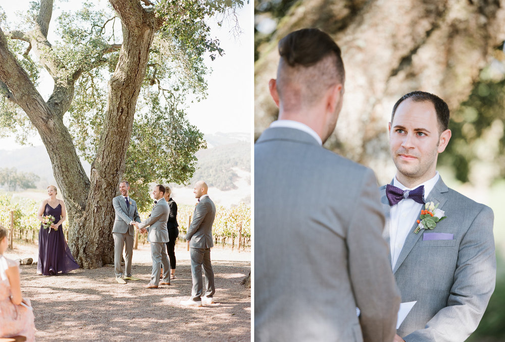 Groom exchange vows in the vineyard of Kunde Winery in Napa Valley; Sylvie Gil Photography
