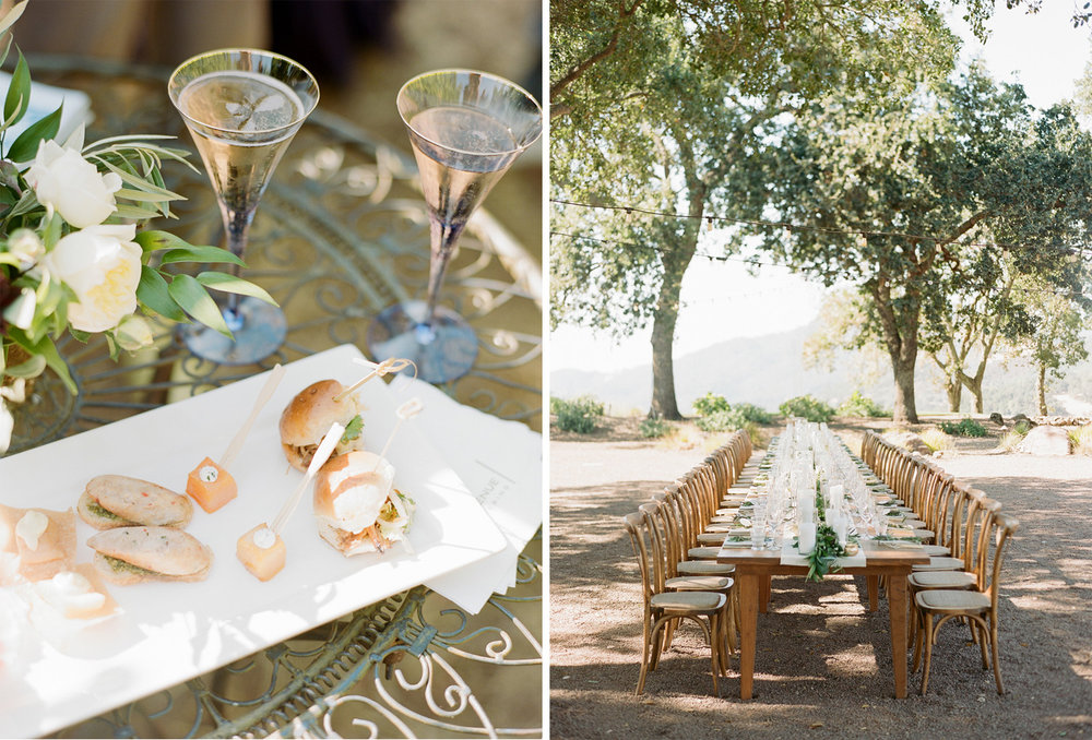 Wedding reception hors d'oeuvres and reception table at Kunde Winery; Sylvie Gil Photography