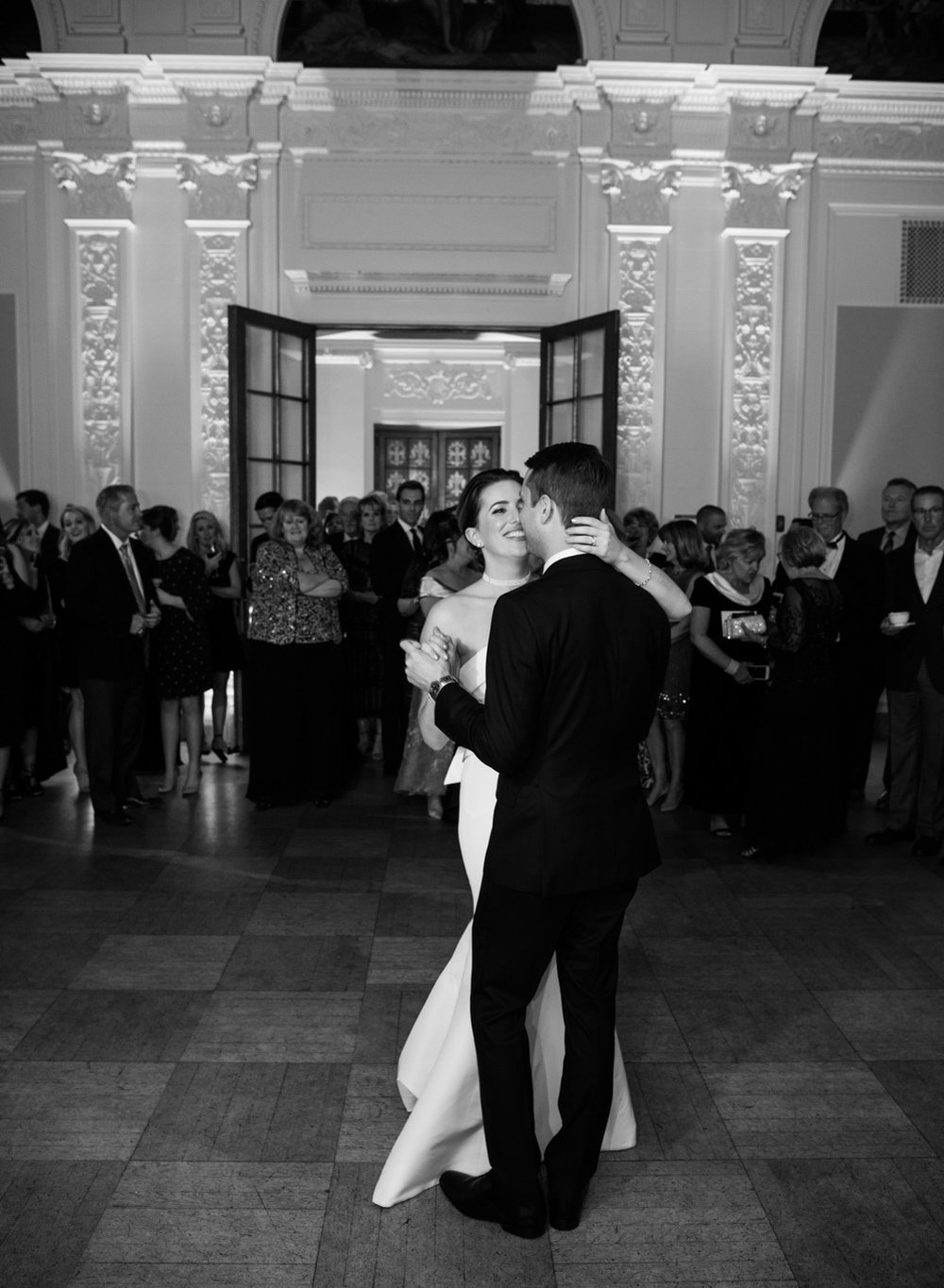 The couple shares their first dance at a wedding reception at the Flood Mansion in San Francisco; Sylvie Gil Photography