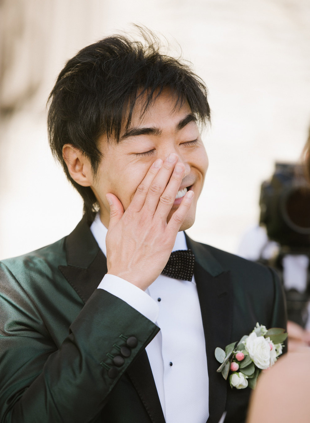 Groom tears up during a wedding ceremony in Gordes chateau in France; Sylvie Gil Photography