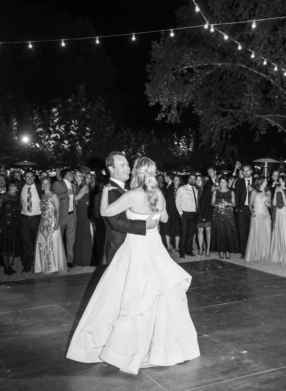 Bride and groom share their first dance at the wedding reception at Beaulieu Gardens; Sylvie Gil Photography