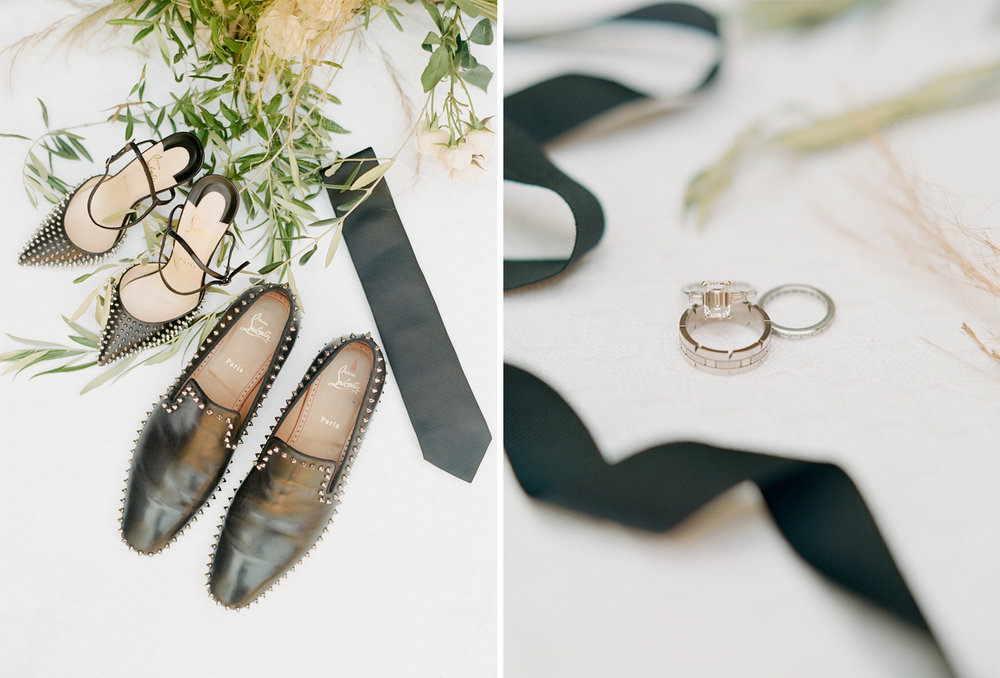The couple's matching Louboutins and rings; Sylvie Gil Photography