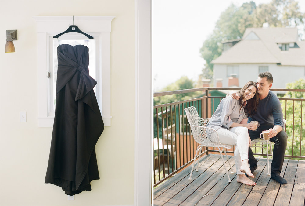 The bride's black Carolina Herrera gown before the wedding; Sylvie Gil Photography