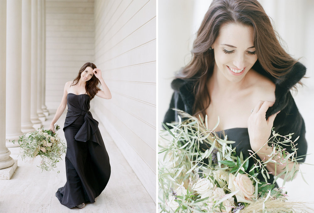 The bride in her black Carolina Herrera gown at the Legion of Honor; Sylvie Gil Photography