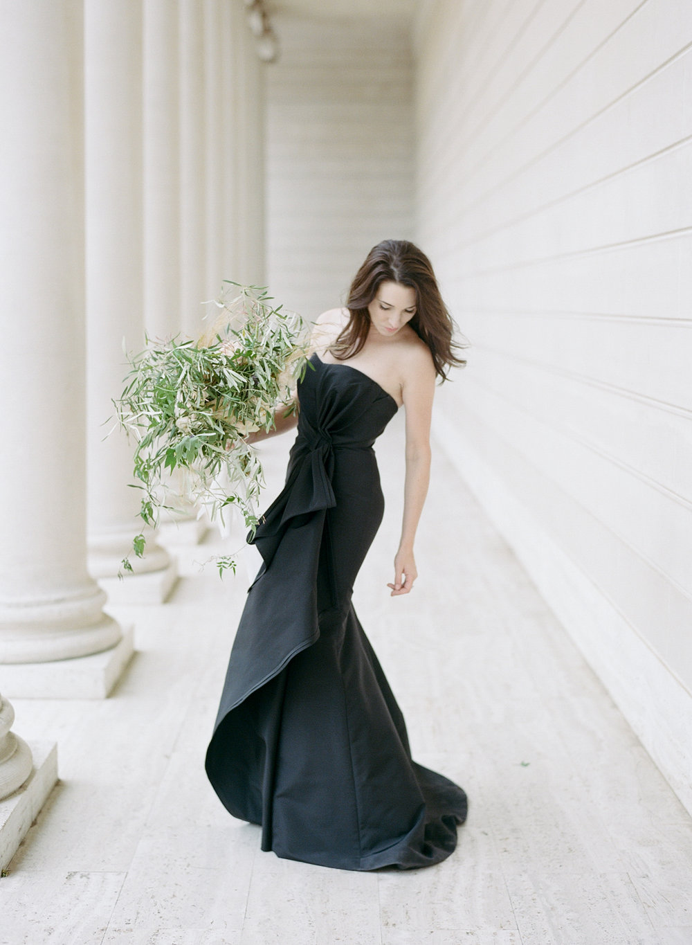 The bride's black Carolina Herrera gown at the Legion of Honor; Sylvie Gil Photography