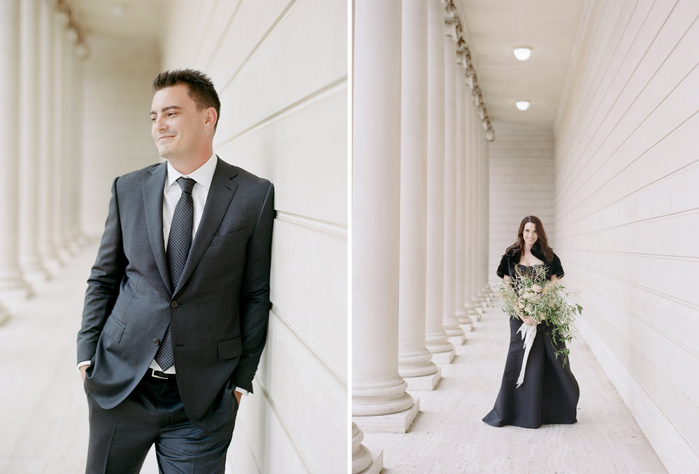 Portraits of the bride and groom at The Legion of Honor after the ceremony; Sylvie Gil Photography