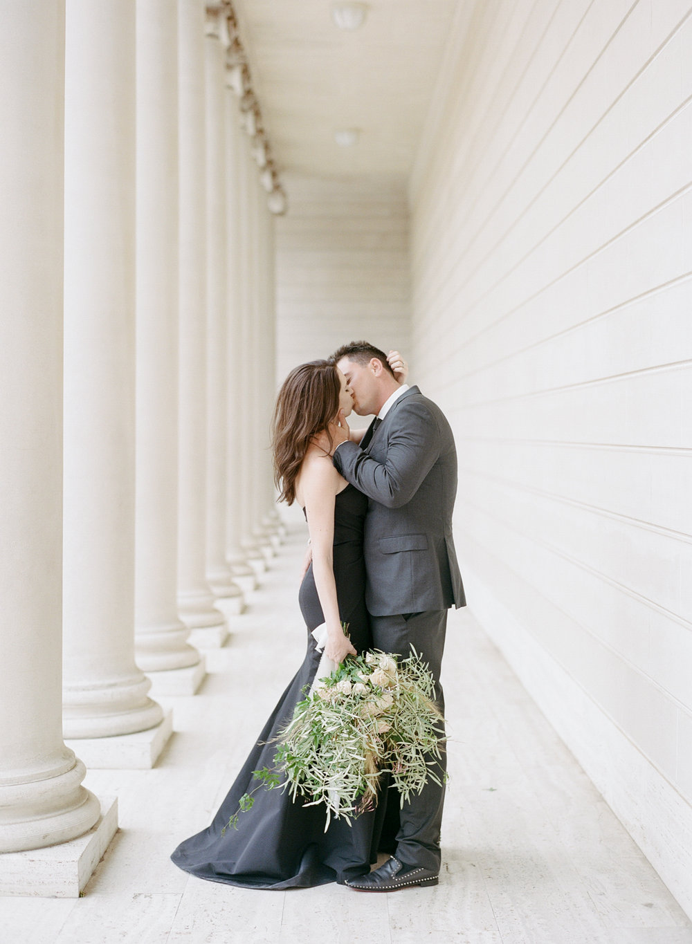 A couple session at the Legion of Honor after the wedding ceremony; Sylvie Gil Photography