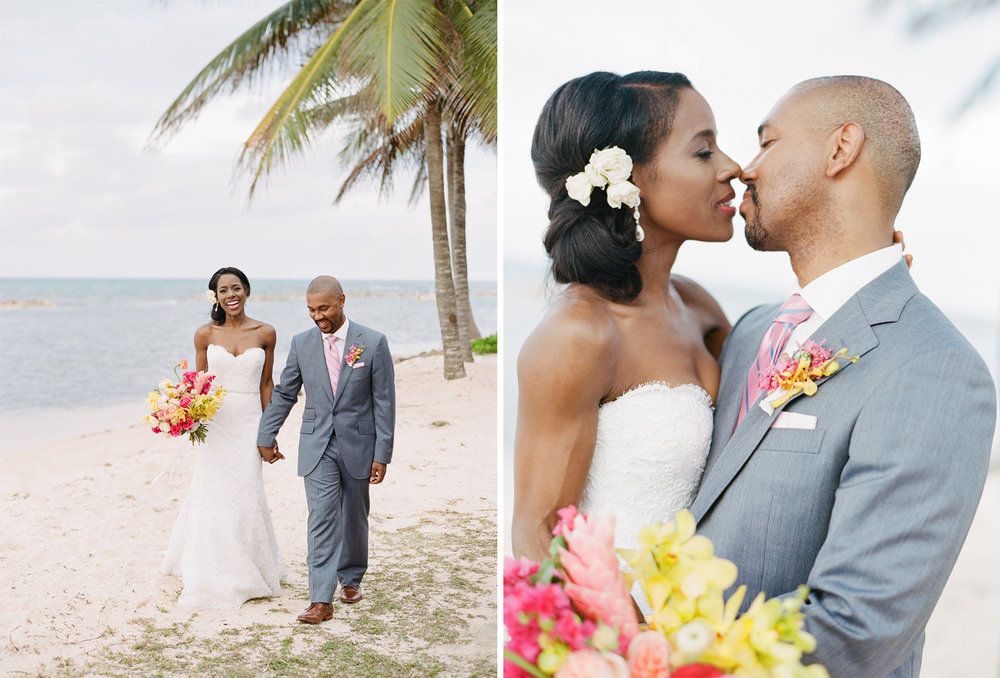 Couple session on the beach at Montego Bay after the wedding ceremony; Sylvie Gil Photography
