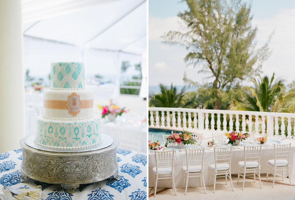 An ikat wedding cake in tropical teal; Sylvie Gil Photography