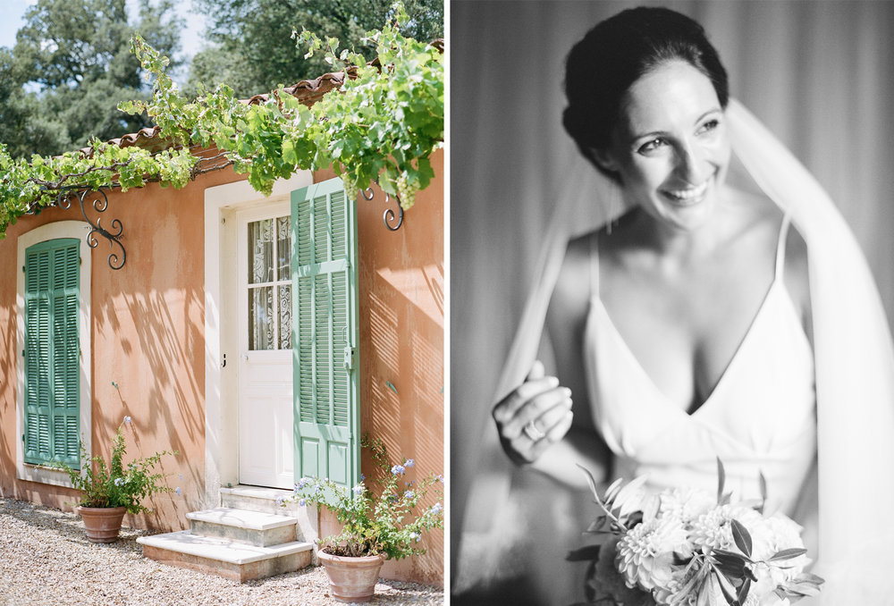 A rustic wedding ceremony at a chateau in Provence, France; Sylvie Gil Photography