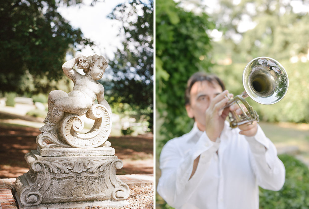 A village trumpeter outside the chapel ceremony; Sylvie Gil Photography