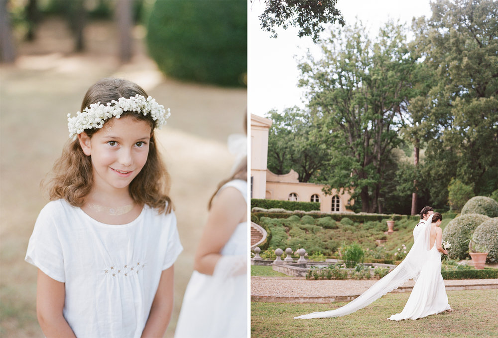 Portraits of the bridal party at the chateau in Provence, France; Sylvie Gil Photography