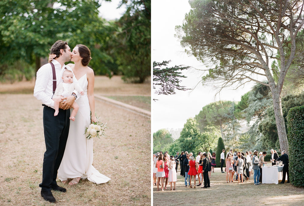 Guests mingle over cocktails on the grounds of the chateau in Provence, France; Sylvie Gil Photography