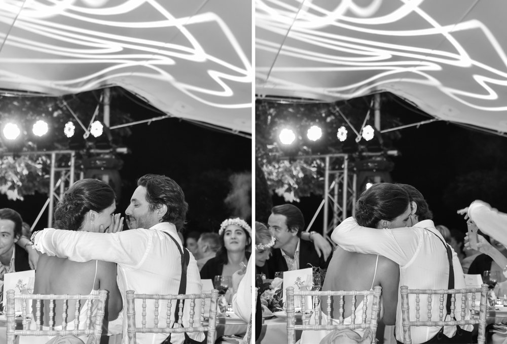 The bride and groom share a sweet moment during the wedding reception in Provence, France; Sylvie Gil Photography