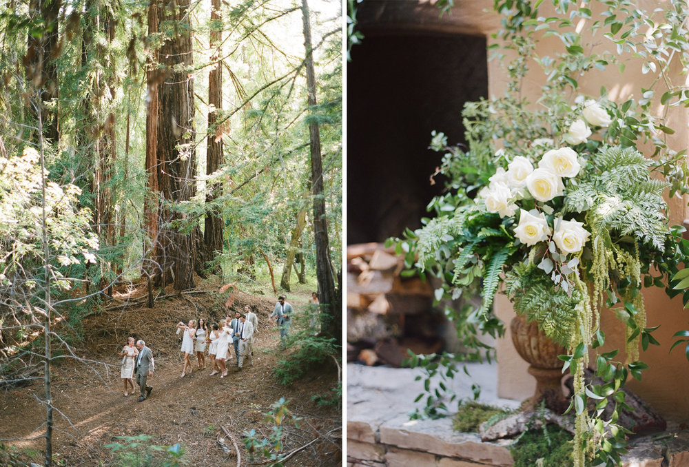White and cream florals decorate the redwoods ceremony in Santa Lucia Preserve in Carmel, California; Sylvie Gil Photography