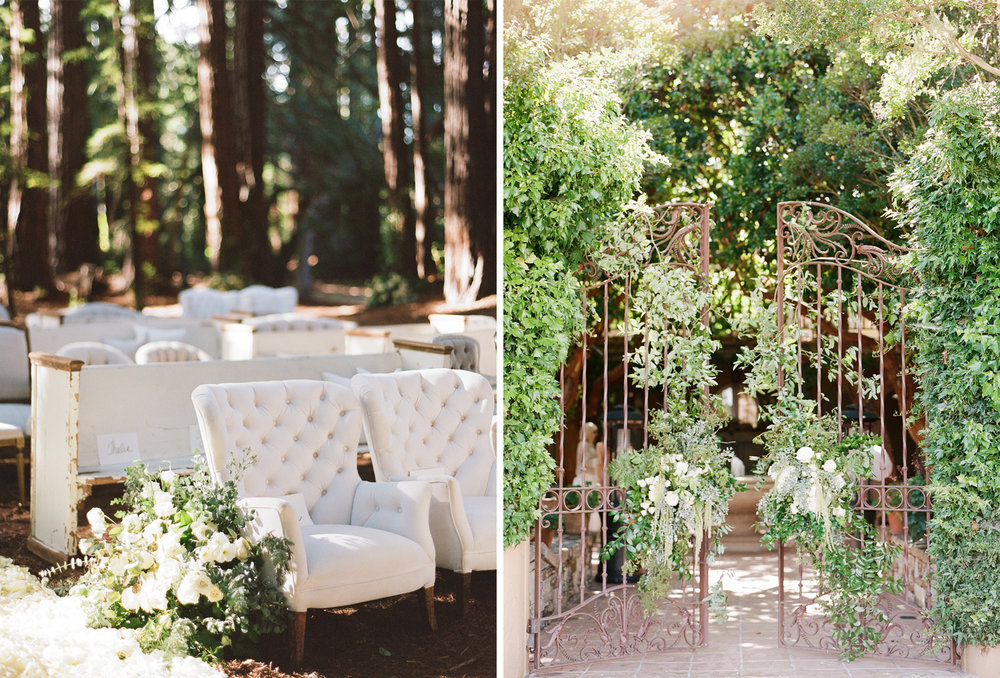 Found furniture as ceremony seating for a wedding in the central California coast; Sylvie Gil Photography