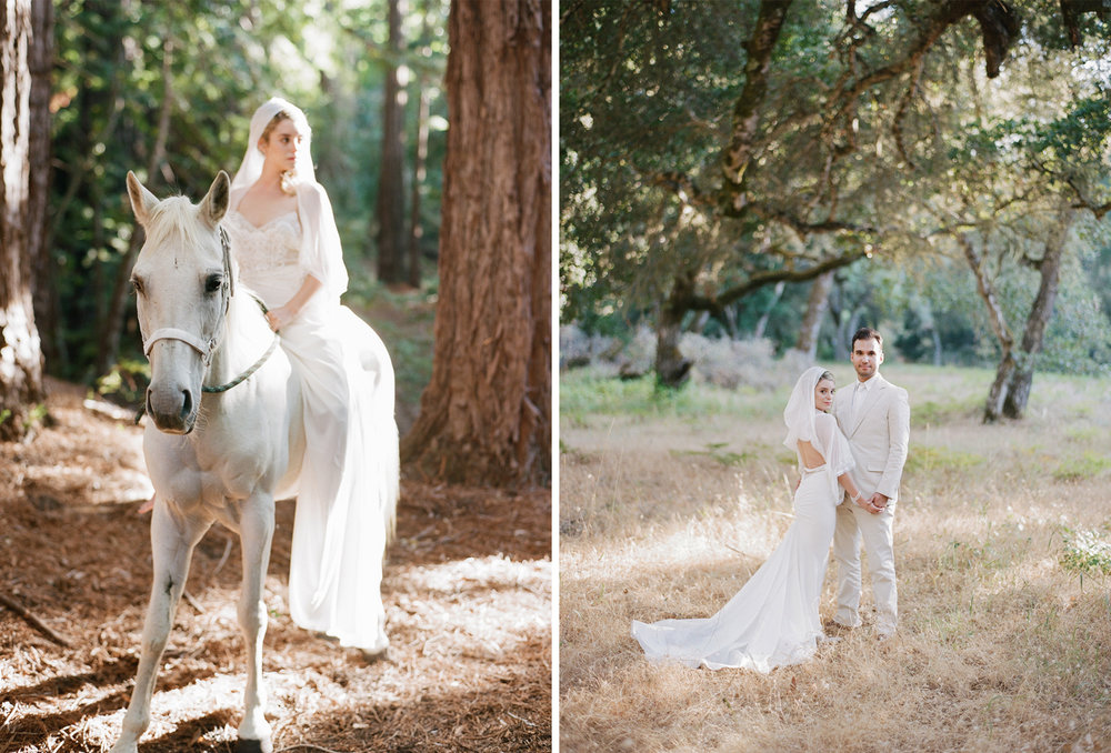 Portraits of the bride and groom with a white horse after the ceremony at Santa Lucia Preserve; Sylvie Gil Photography