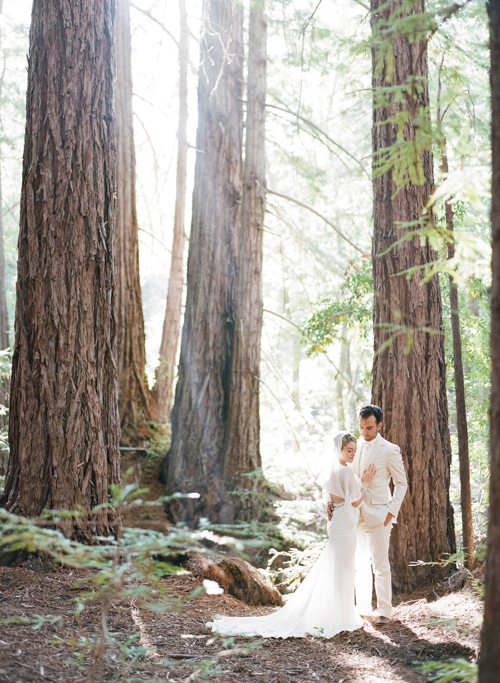 Bride and groom stand among the redwoods on the central coast in California after their wedding ceremony; Sylvie Gil Photography