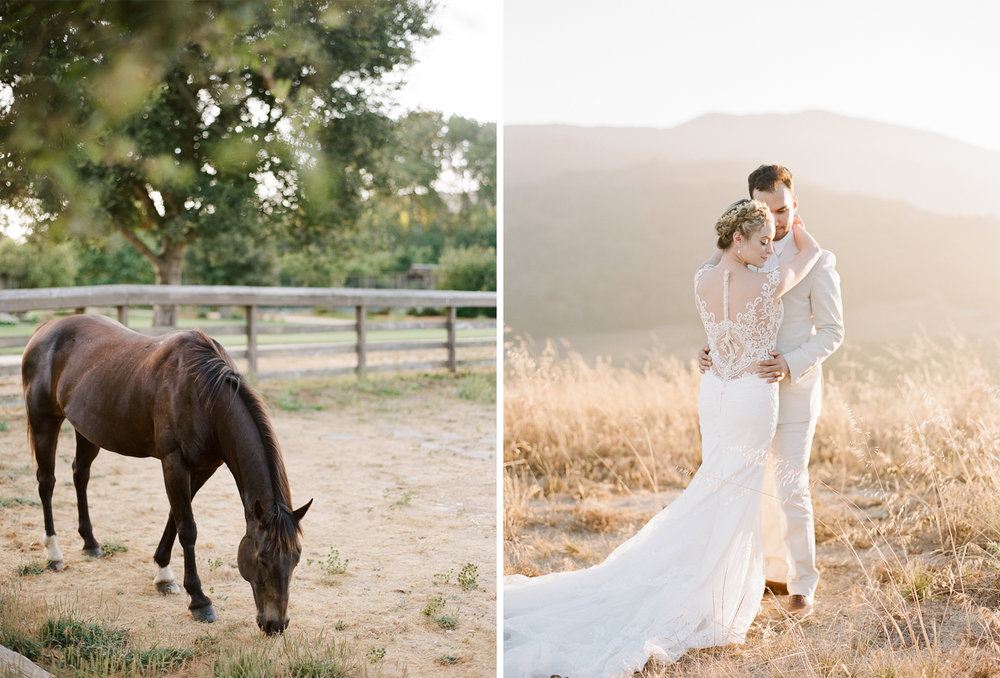 Bride and groom at sunset at the Santa Lucia Preserve in Carmel, California; Sylvie Gil Photography