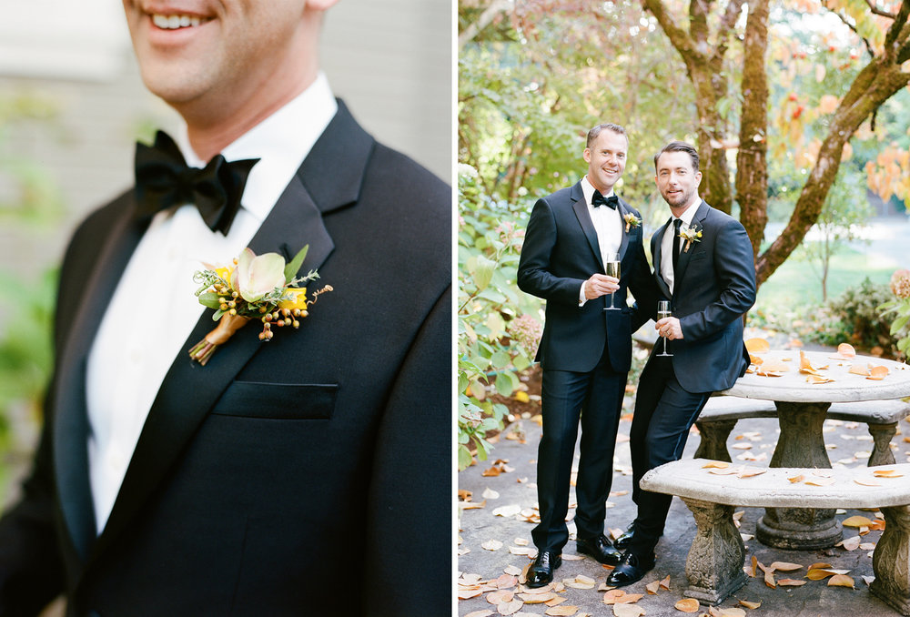 Grooms' boutonnieres made by Max Gill for an autumn wedding in St. Helena; Sylvie Gil Photography