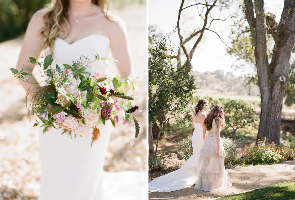 The bride and her maid of honor walk through a Napa ranch toward the rustic bohemian wedding reception; Sylvie Gil Photography