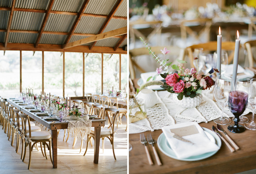Airy barn reception with rustic, bohemian decor and table settings; Sylvie Gil Photography