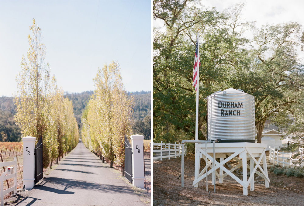 Entrance to Durham Ranch, a wedding venue in Napa Valley wine country; Sylvie Gil Photography