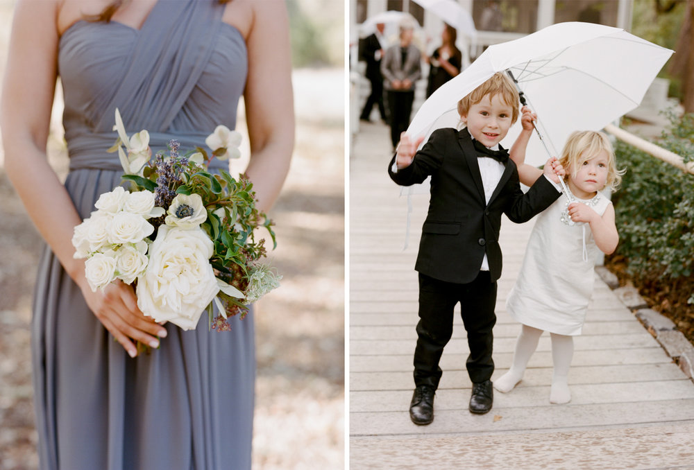 Young guests arrive at a wedding ceremony at Durham Ranch in St. Helena, California; Sylvie Gil Photography