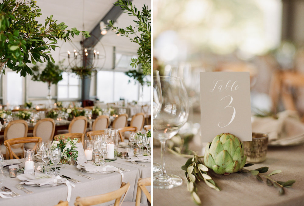 Artichoke table markers and small citrus trees decorate an industrial rustic barn wedding reception; Sylvie Gil Photography