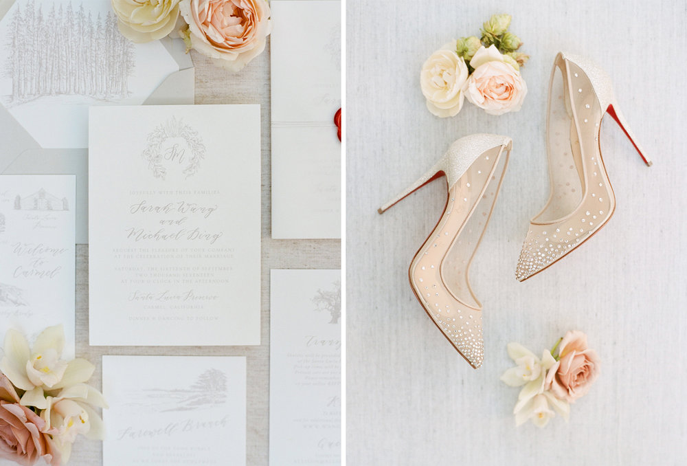 A neutral invitation suite with red accents, the bride's Louboutin heels; Sylvie Gil Photography