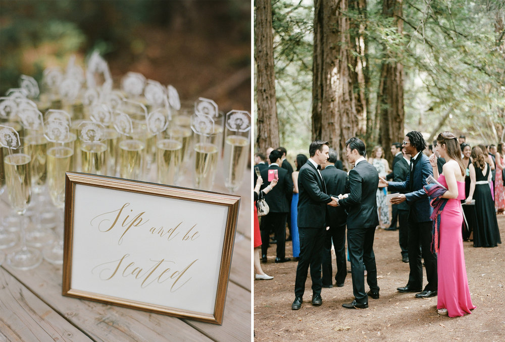 Guests arrive for a wedding ceremony among the redwoods in the Central Coast of California; Sylvie Gil Photography