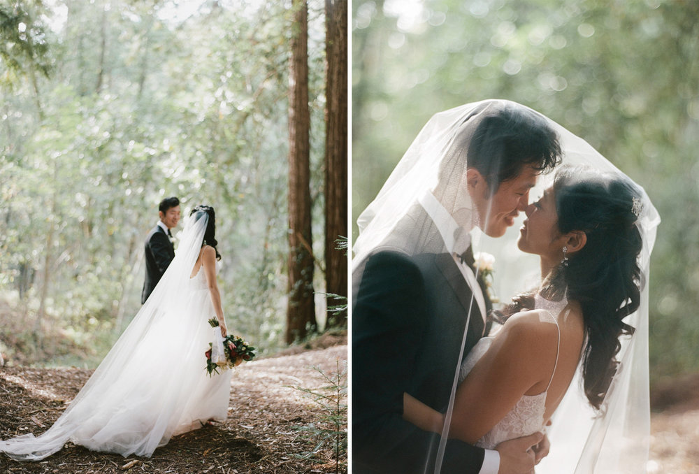 Bride and groom share a romantic moment among the redwoods in Santa Lucia Preserve in Carmel; Sylvie Gil Photography