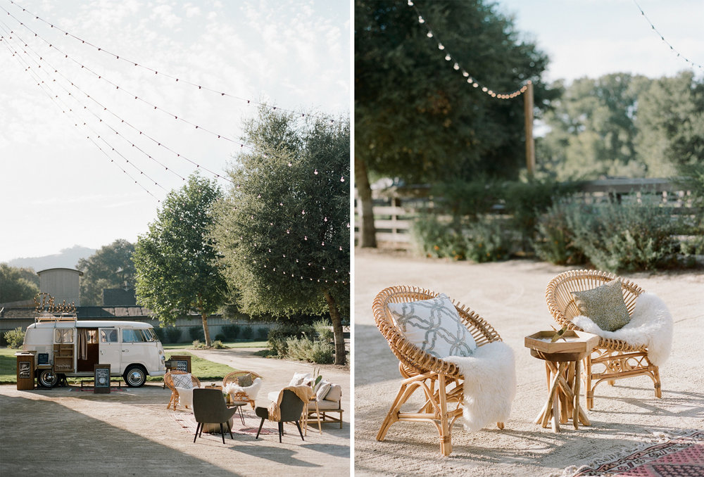 A photobooth Volkswagen bus and rattan furniture decorate a wedding reception at the Santa Lucia Preserve; Sylvie Gil Photography