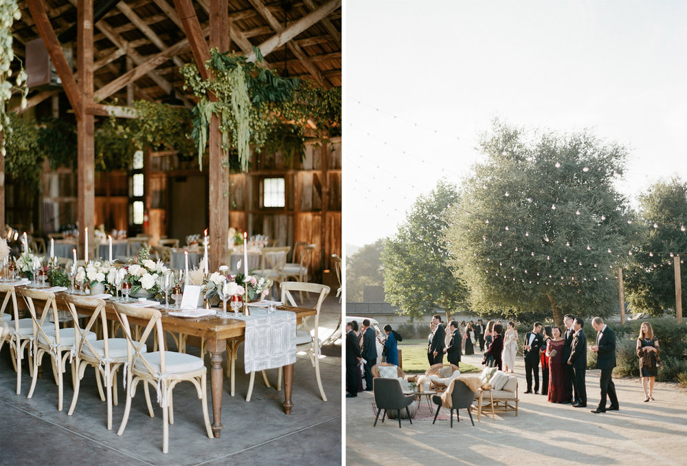 A barn wedding reception decorated with neutral florals and hanging ferns; Sylvie Gil Photography