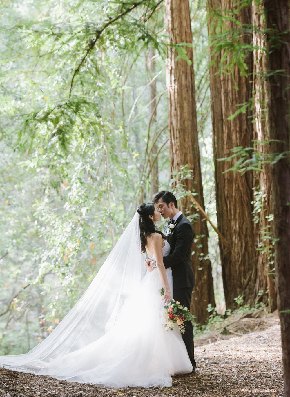 The bride and groom share a moment among the redwoods in Carmel, California after the wedding ceremony; Sylvie Gil Photography