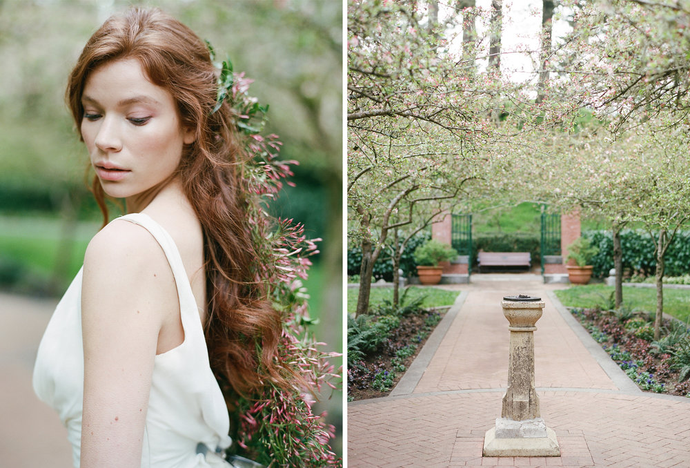A barefaced bride with jasmine blossoms in her hair; Sylvie Gil Photography